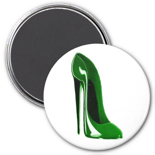 green stiletto shoe fridge magnets