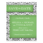 """Green Stitched Damask Save the Date Announcements 4.25"""" X 5.5"""" Invitation Card"""