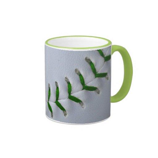 Green Stitches Baseball / Softball Coffee Mugs