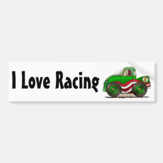 Green Stock Car I Love Racing Bumper Sticker Car Bumper Sticker
