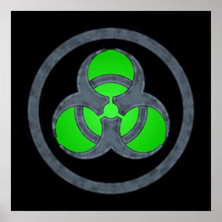 Green Stone Biohazard Symbol Poster