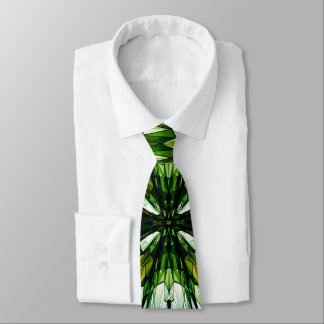 Green Stone Mosaic Stained Glass Men's Necktie