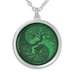 Green Stone Yin Yang Tree Pendants