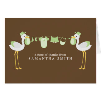 Green Storks Baby Shower Thank You Notes Note Card