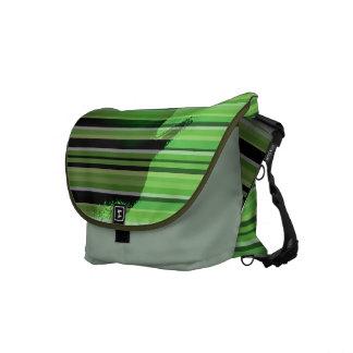 Green Stripe Emboss Latex Messenger Bag
