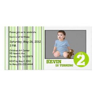 Green Stripe Kids Birthday Photo Card