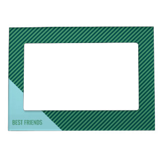 Green Stripe Patterned Custom Text Picture Frame Frame Magnet