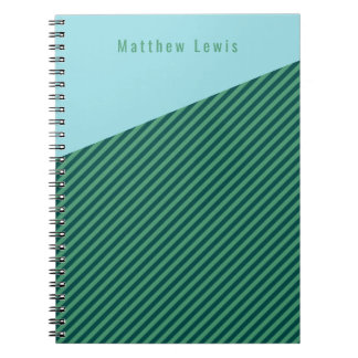 Green Stripe Patterned Customisable Name Notebook