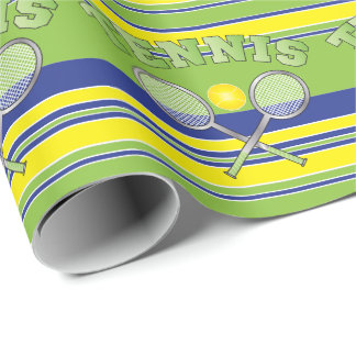 Green Stripe Tennis Rackets Wrapping Paper