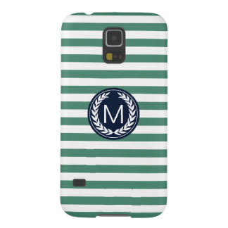 Green Stripe with Navy Laurel Wreath Monogram Galaxy S5 Cases