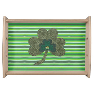 Green Stripe with Shamrock Serving Tray