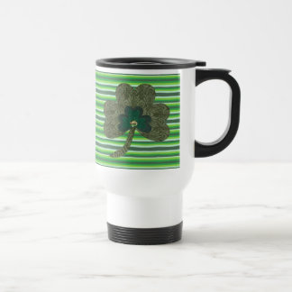 Green Stripe with Shamrock Travel Mug