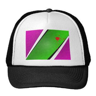 Green Stripe with splatter Trucker Hat