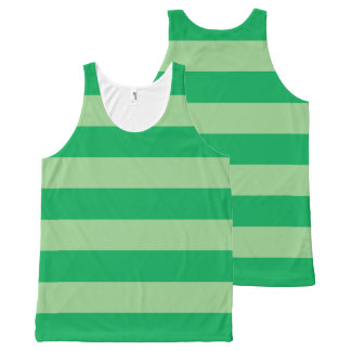 Green Striped All-Over Print Tank Top