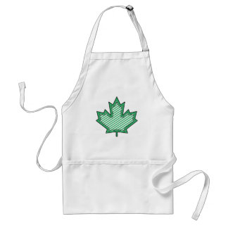 Green Striped  Applique Stitched Maple Leaf Standard Apron