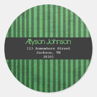 Green Striped Background Address Labels Sticker