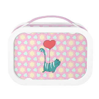 Green striped cat floating under a balloon lunch box