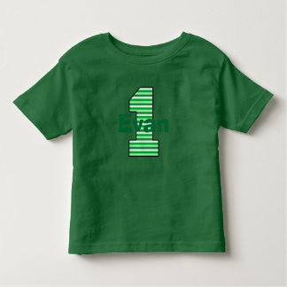 Green Striped First Birthday Boy Shirt