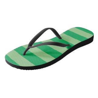 Green Striped Flip Flops