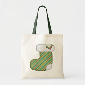 Green Striped Holiday Stocking Gift Bag