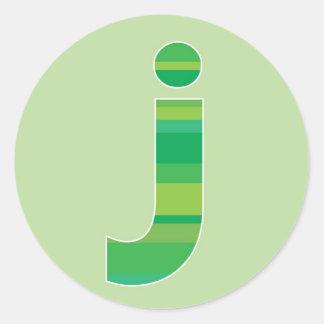 Green Striped Monogram - Letter J Round Sticker