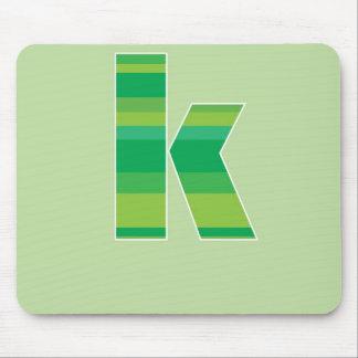 Green Striped Monogram - Letter K Mouse Mats