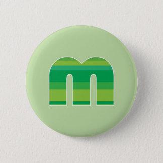 Green Striped Monogram - Letter M 6 Cm Round Badge