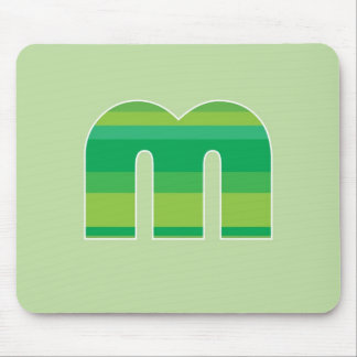 Green Striped Monogram - Letter M Mouse Mats