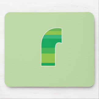 Green Striped Monogram - Letter R Mouse Mat