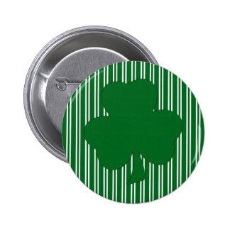 Green Striped Shamrock Button