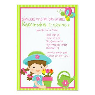 Green Striped Spring Girl Birthday Invitation