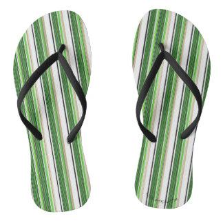 Green Striped Summer Awning Flip Flops