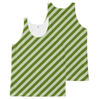 Green Stripes All-Over Print Tank Top