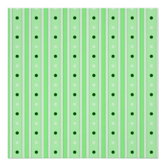 Green Stripes And Dots Pattern Posters