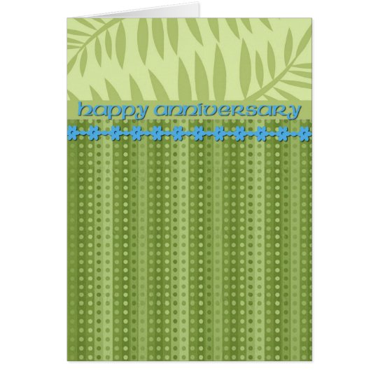 Green Stripes and Foliage Anniversary Card