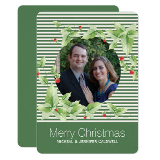 Green Stripes and Holly Photo Holiday Card