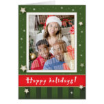 Green stripes and stars holiday card