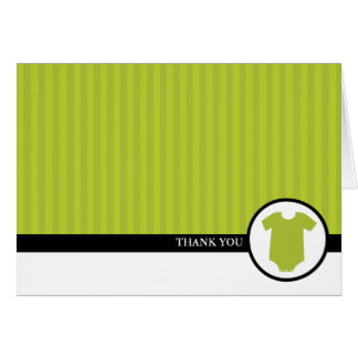 Green Stripes Baby Shower Thank You Note Card