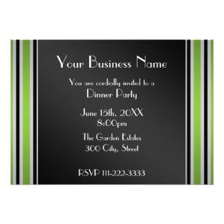 Green stripes Business invitation