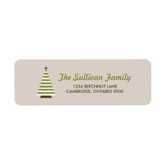 Green Stripes Christmas Tree Holiday Address Label