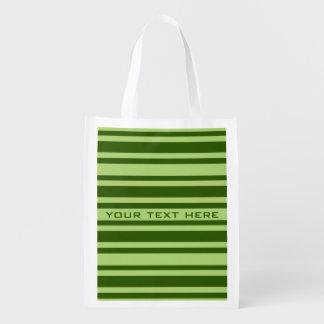 Green Stripes custom reusable bag