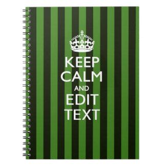 Green Stripes Decor Keep Calm Your Text Spiral Notebook