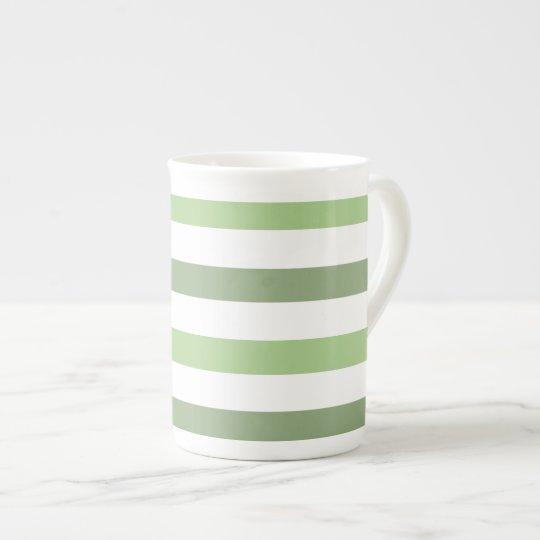 Green Stripes Horizontal Bone China Mug