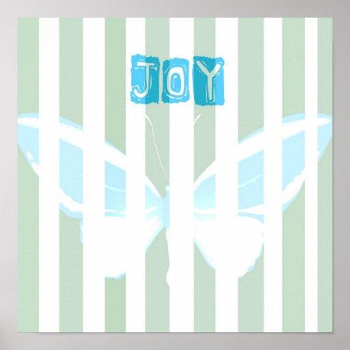 Green Stripes Joy Butterfly Poster