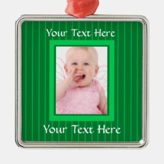 Green Stripes Personalized Photo Ornament