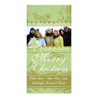 Green Stripes Pine Swirl Holiday Family Pictures Personalized Photo Card