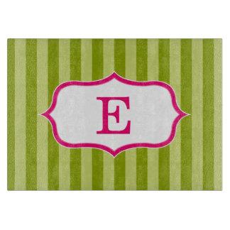 Green Stripes Pink Monogram Design Cutting Board