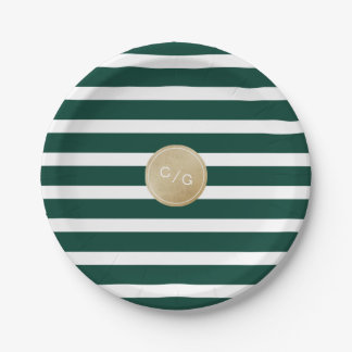 Green stripes simple modern wedding monogram paper plate