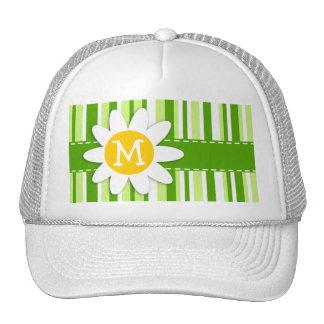 Green Stripes Striped Daisy Trucker Hat