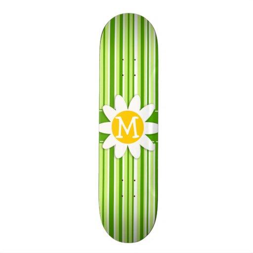 Green Stripes; Striped; Daisy Skateboard